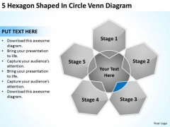 5 Hexagon Shaped In Circle Venn Diagram Ppt Business Plan PowerPoint Slide