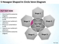 5 Hexagon Shaped In Circle Venn Diagram Ppt Business Plan Writing PowerPoint Templates