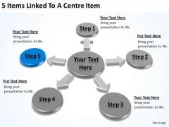 5 Items Linked To A Centre Examples Of Business Plan Outline PowerPoint Templates