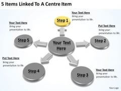 5 Items Linked To A Centre Writing Business Plan For Dummies PowerPoint Slides