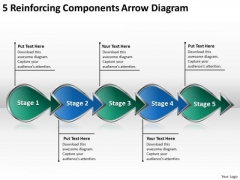 5 Reinforcing Components Arrow Diagram Flowchart PowerPoint Freeware Templates