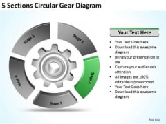 5 Sections Circular Gear Diagram Business Plan Financial Projections PowerPoint Slides