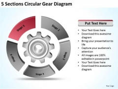 5 Sections Circular Gear Diagram Ppt Business Plan Models PowerPoint Templates