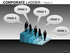 5 Stage Job Search Corporate Steps PowerPoint Slides