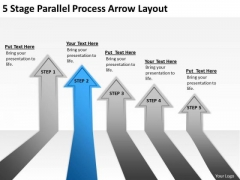 5 Stage Parallel Process Arrow Layout Business Plans Template PowerPoint Slides
