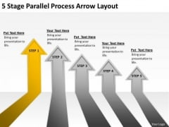 5 Stage Parallel Process Arrow Layout Consulting Business Plan Template PowerPoint Templates