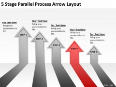 5 Stage Parallel Process Arrow Layout Hot Dog Cart Business Plan PowerPoint Templates