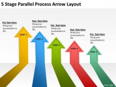 5 Stage Parallel Process Arrow Layout Making Business Plan Template PowerPoint Templates
