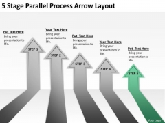5 Stage Parallel Process Arrow Layout Ppt How To Prepare Business Plan PowerPoint Slides