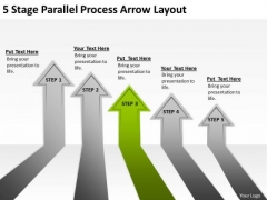 5 Stage Parallel Process Arrow Layout Writing Business Plan Examples PowerPoint Slides