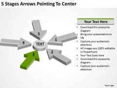 5 Stages Arrows Pointing To Center Business Plan For Bakery PowerPoint Slides