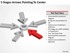 5 Stages Arrows Pointing To Center Business Plan Template Free PowerPoint Templates