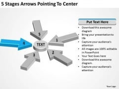 5 Stages Arrows Pointing To Center Ppt How Write Business Plan For Free PowerPoint Slides