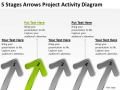 5 Stages Arrows Project Activity Diagram Business Plan PowerPoint Templates