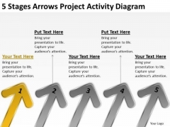 5 Stages Arrows Project Activity Diagram Examples Business Plan Outline PowerPoint Templates