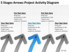 5 Stages Arrows Project Activity Diagram Outline Business Plan PowerPoint Slides