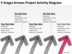 5 Stages Arrows Project Activity Diagram Ppt Franchise Business Plan PowerPoint Slides