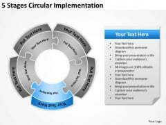 5 Stages Circular Implementation Business Plan Template PowerPoint Templates