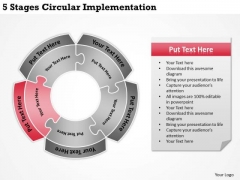 5 Stages Circular Implementation Business Planning PowerPoint Templates