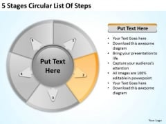 5 Stages Circular List Of Steps Create Business Plan PowerPoint Slides