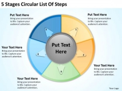5 Stages Circular List Of Steps Real Estate Agent Business Plan PowerPoint Slides