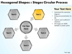 5 Stages Circular Process Examples Of Business Plans For Small PowerPoint Slides
