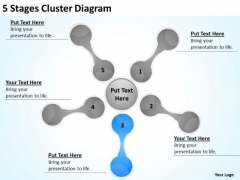 5 Stages Cluster Diagram Detailed Business Plan PowerPoint Slides
