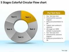 5 Stages Colorful Circular Flow Chart Business Plan PowerPoint Slides
