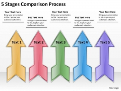 5 Stages Comparison Process Easy Business Plan PowerPoint Slides