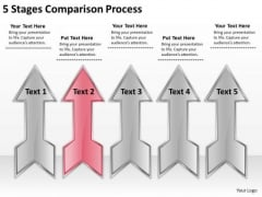 5 Stages Comparison Process How To Write Business Plan PowerPoint Slides
