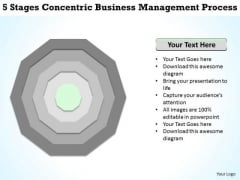 5 Stages Concentric Business Management Process Magazine Plan PowerPoint Slides