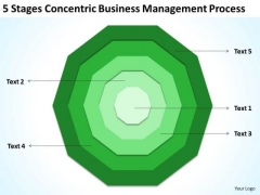 5 Stages Concentric Business Management Process Plan Outlines PowerPoint Templates