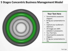 5 Stages Concentric Business Managment Model Plan PowerPoint Slides