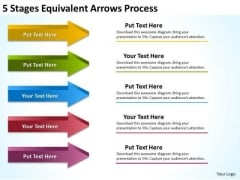 5 Stages Equivalent Arrows Process Business Plan Samples PowerPoint Slides