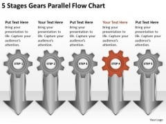 5 Stages Gears Parallel Flow Chart Small Business Planning PowerPoint Slides