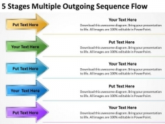 5 Stages Multiple Outgoing Sequence Flow Business Plan Proposal PowerPoint Templates