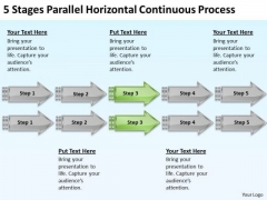 5 Stages Parallel Horizontal Continuous Process Help With Business Plan PowerPoint Slides