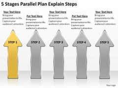 5 Stages Parallel Plan Explain Steps Business PowerPoint Templates