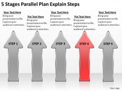 5 Stages Parallel Plan Explain Steps Business Software Download PowerPoint Slides