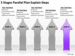 5 Stages Parallel Plan Explain Steps Ppt Example Business Outline PowerPoint Slides