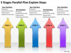 5 Stages Parallel Plan Explain Steps Sample Mission Statements For Business PowerPoint Slides