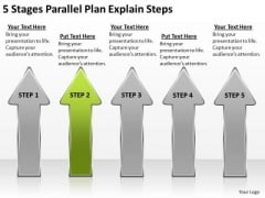 5 Stages Parallel Plan Explain Steps Writing Business PowerPoint Templates