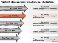 5 Stages Process Simultaneous Illustration Business Plan Downloads PowerPoint Templates
