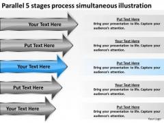 5 Stages Process Simultaneous Illustration Hair Salon Business Plan PowerPoint Templates