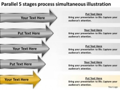 5 Stages Process Simultaneous Illustration Ppt Sample Business Plans Free PowerPoint Templates