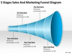 5 Stages Sales And Marketing Funnel Diagram Develop Business Plan PowerPoint Slides