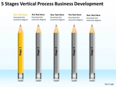 5 Stages Vertical Process Business Development Ppt One Page Plan PowerPoint Templates