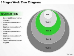 5 Stages Work Flow Diagram Business Plan Formats PowerPoint Slides