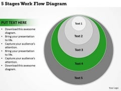 5 Stages Work Flow Diagram Business PowerPoint Slides