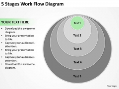 5 Stages Work Flow Diagram Professional Business Plan PowerPoint Templates